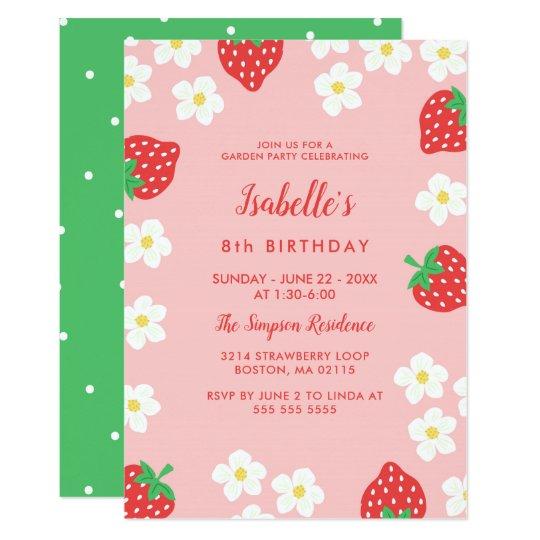 Strawberry Flowers Birthday Party Card