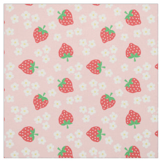 Strawberry Flowers Pink Pattern Fabric