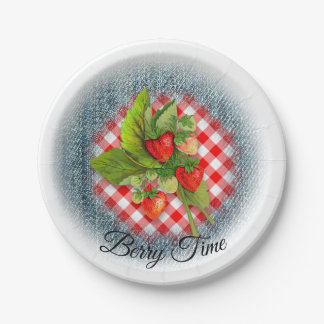 Strawberry Fresh with Denim and Gingham Paper Plate