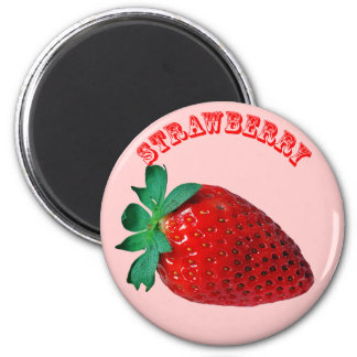 Strawberry - (Fridge Magnet Round)