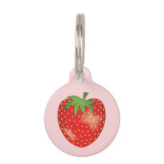 Strawberry Fruit On Pink With Pet's Info Pet Name Tag
