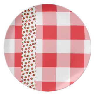 Strawberry Gingham Dinner Plate