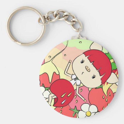 Strawberry Girl Keychain