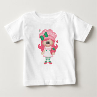 Strawberry Girl Pink Red Fruit Childrens Food Art Baby T-Shirt