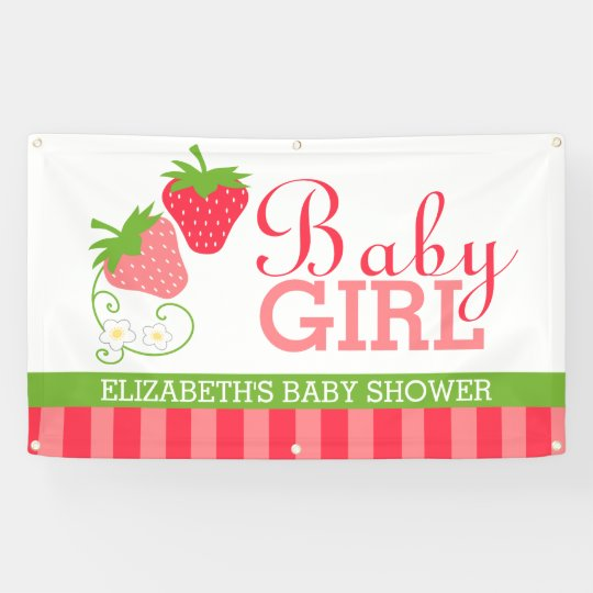 Strawberry Girls Baby Shower Banner