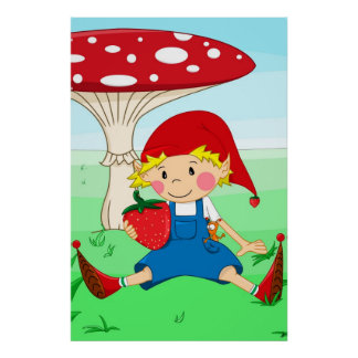 Strawberry gnome posters