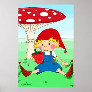 Strawberry gnome poster
