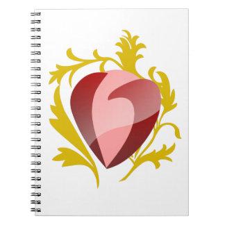strawberry heart notebooks
