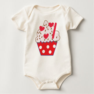 Strawberry Hearts CUPCAKE Baby Bodysuit