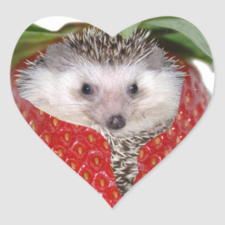 Strawberry Hedgie Heart Sticker