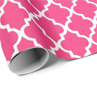Strawberry Hot Pink Quatrefoil Tiles Pattern Wrapping Paper
