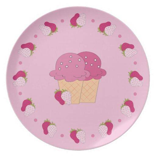Strawberry Ice Cream Plates