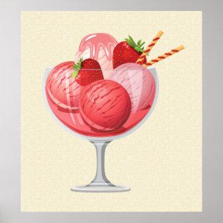 Strawberry Ice Cream Posters