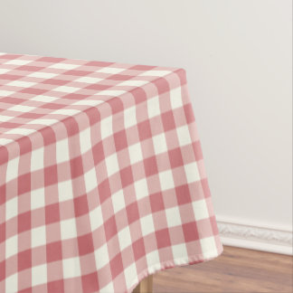 Strawberry Ice Gingham Cotton Tablecloth