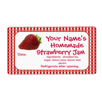 Strawberry Jam Canning Jar Labels Personalized