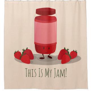 Strawberry Jam cartoon character | Shower Curtain