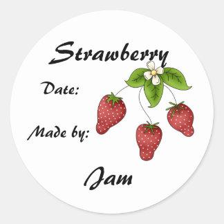 Strawberry Jam Jar Label (Customize) Round Sticker