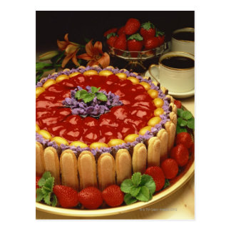 Strawberry lady finger cake postcard