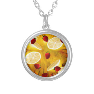 STRAWBERRY LEMONADE SILVER PLATED NECKLACE