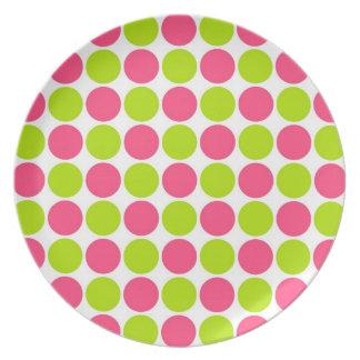 Strawberry & Lime Polka Dots Dinner Plates