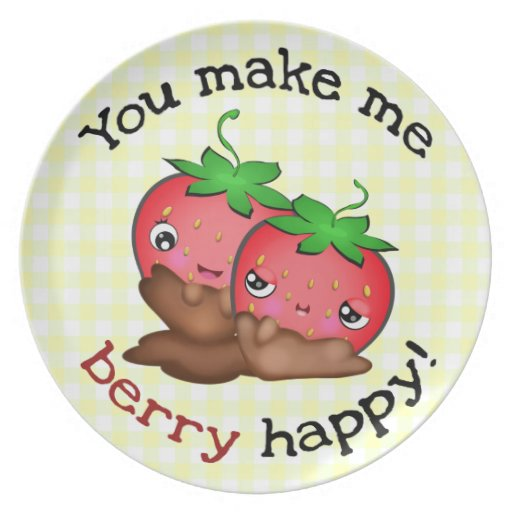 Strawberry Love Happy Couple Plate