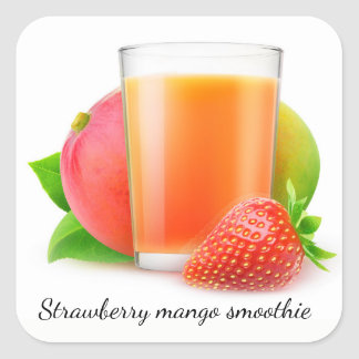 Strawberry mango smoothie square sticker
