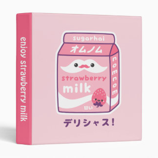 Strawberry Milk Carton 3 Ring Binder