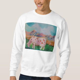 Strawberry Milk Cow by Stephen R. Sweatshirt