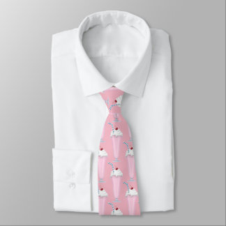 Strawberry milkshake ice cream shop fun tiled tie