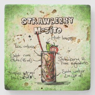 Strawberry Mojito Drink Recipe Stone Coaster