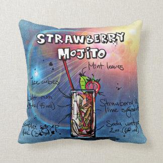 Strawberry Mojito Throw Pillow