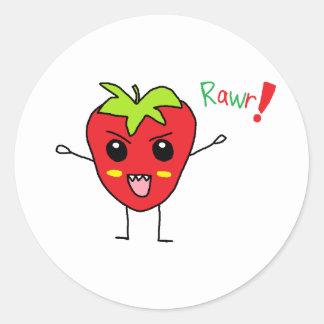 Strawberry Monster Round Sticker