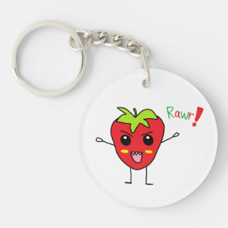 Strawberry Monster Single-Sided Round Acrylic Keychain
