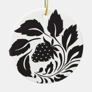 strawberry, nature, abstract, trees, foliage round ceramic ornament