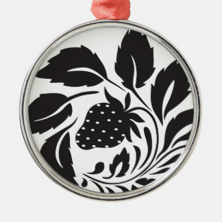 strawberry, nature, abstract, trees, foliage Silver-Colored round ornament