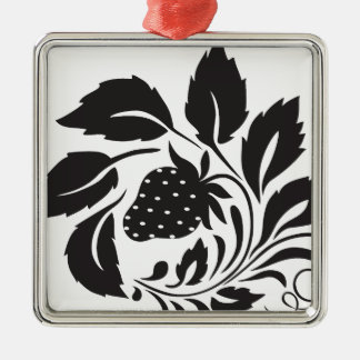 strawberry, nature, abstract, trees, foliage Silver-Colored square ornament