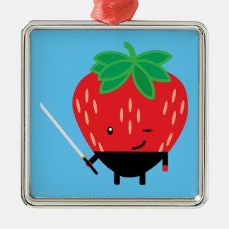 Strawberry-Ninja Silver-Colored Square Ornament