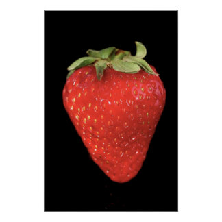 Strawberry on Black Photo Poster