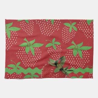 Strawberry on Green Ric Rac, Strawberries Towel