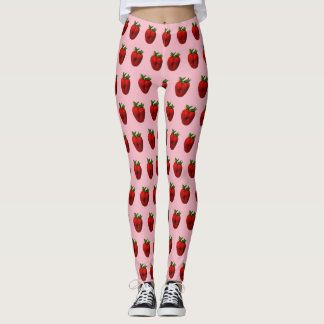 Strawberry on Pink Leggings