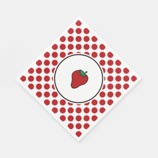 Strawberry on Red Dots Paper Napkins