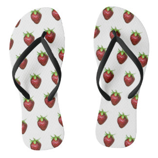 Strawberry on white background flip flops