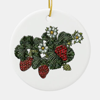 Strawberry Double-Sided Ceramic Round Christmas Ornament