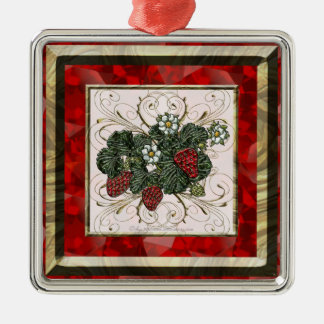 Strawberry Square Metal Christmas Ornament