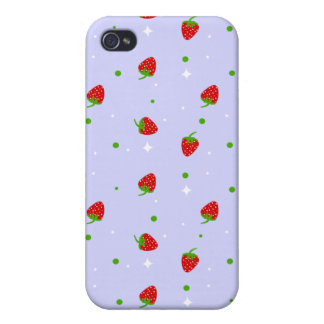 Strawberry Pattern & lilac background Case For iPhone 4