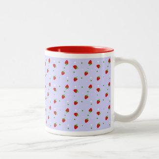 Strawberry Pattern & lilac background Two-Tone Coffee Mug