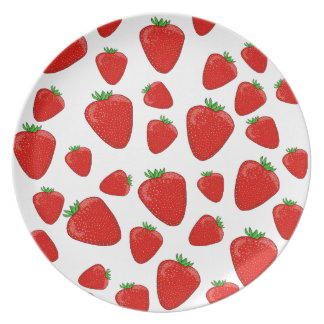 Strawberry pattern party plate