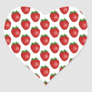 Strawberry Pattern - Strawberries Heart Sticker