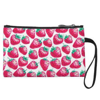 Strawberry pattern wristlet