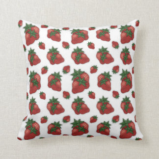 Strawberry Patterned Throw Pillow